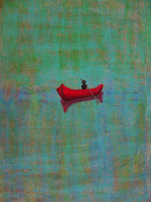 Red Boat is an Oil Pastel Painting On Canvas by Rachel Cross